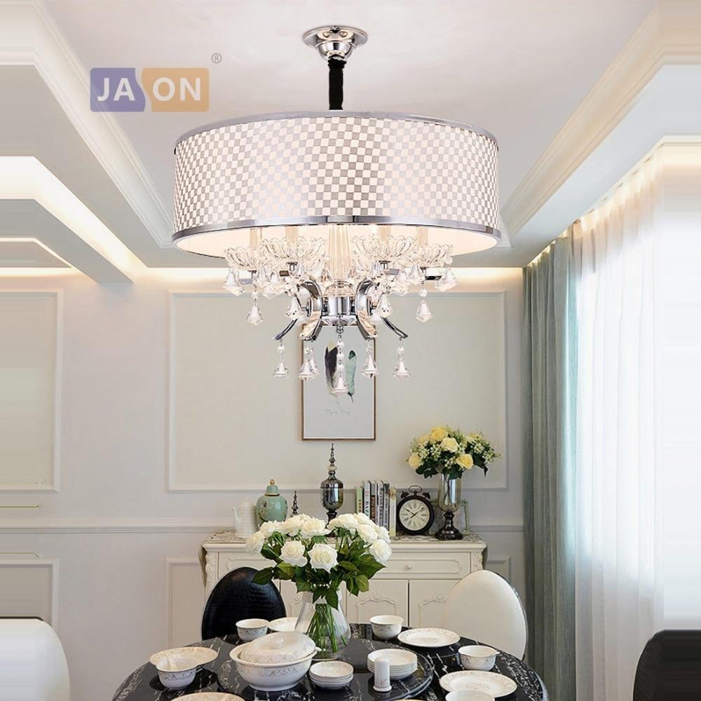 LED e14 Postmodern fer cristal tissu lampe à LED lumière LED pendentif lumières pendentif lampe suspension pour Foyer salle à manger