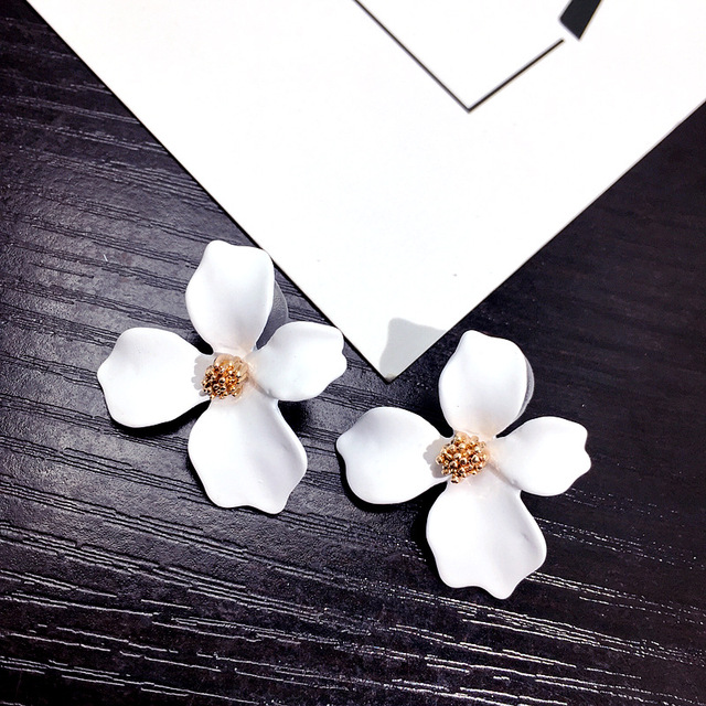 5 Colors Big Flower Earrings For Women Fashion Jewelry Party Holiday 2018 Street