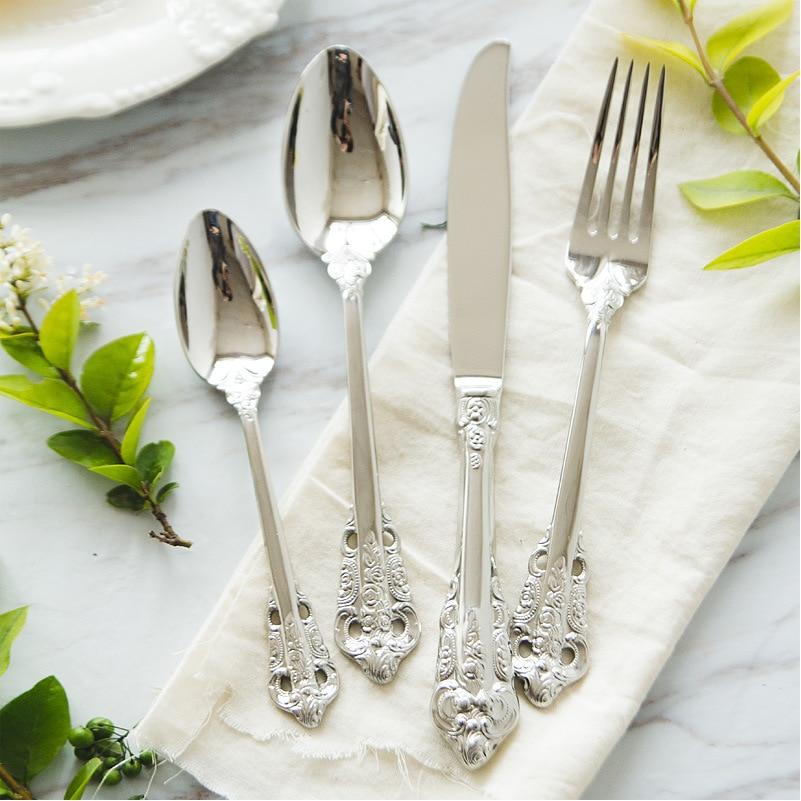 Vintage Silver Cutlery Set 24pcs 18 10 Stainless Steel European Classic Style Dinnerware Set Flower Engraving