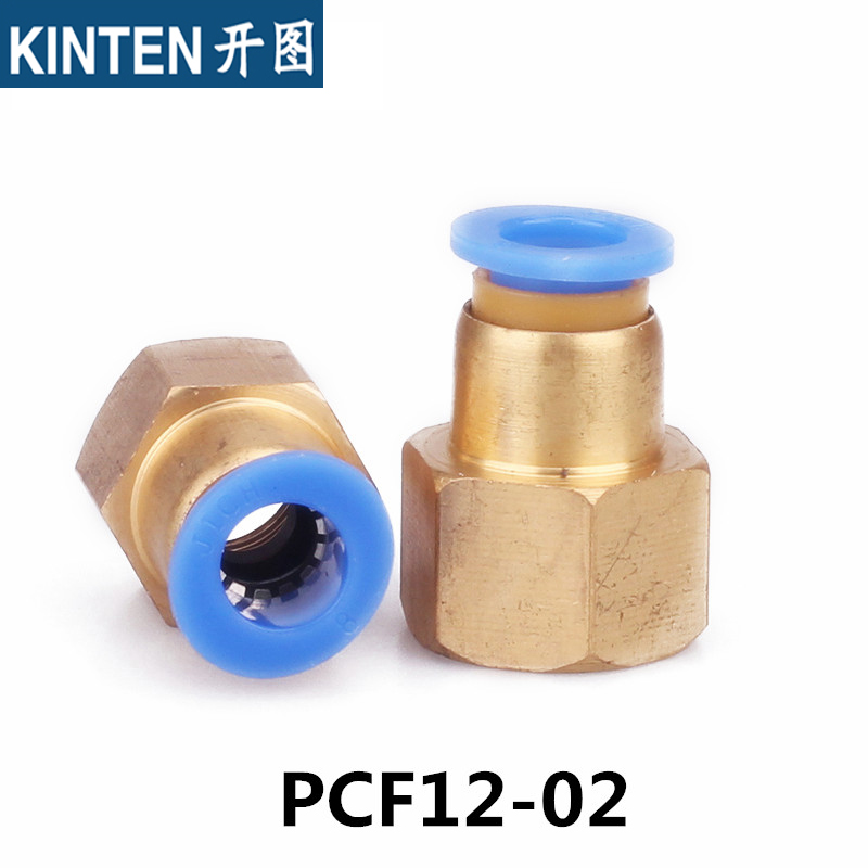 5Pcs PCF12-02 Female Thread 1/4 BSPT (ID:11.5mm) - Tube OD 12mm Pneumatic fittings Push In Touch to Connect Straight Connector 5pcs tube od 8mm to 0 5 bspt pt id 19mm female thread air connector brass fittings pneumatic push in fitting