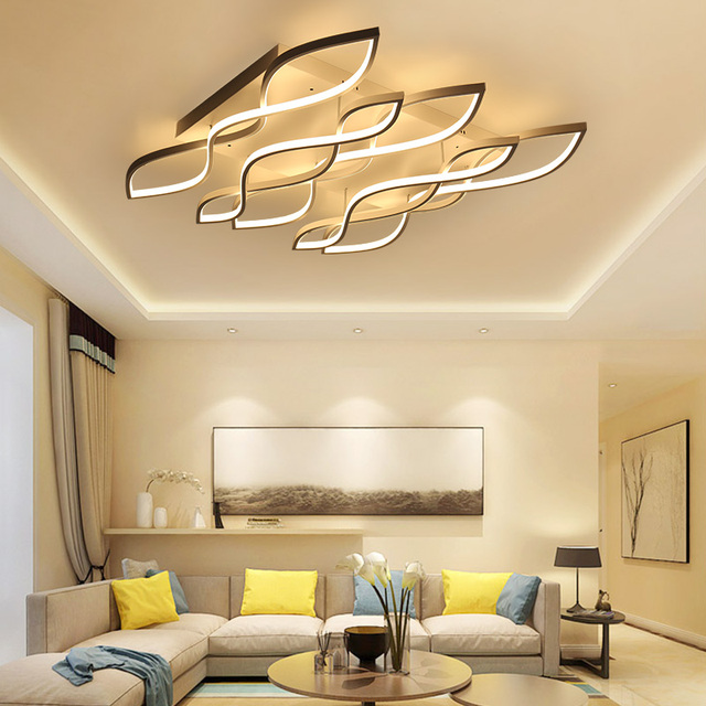 White Or Coffee Finish Rectangle Modern Led Chandelier For Living Room Master  Bedroom Home Deco Chandeliers