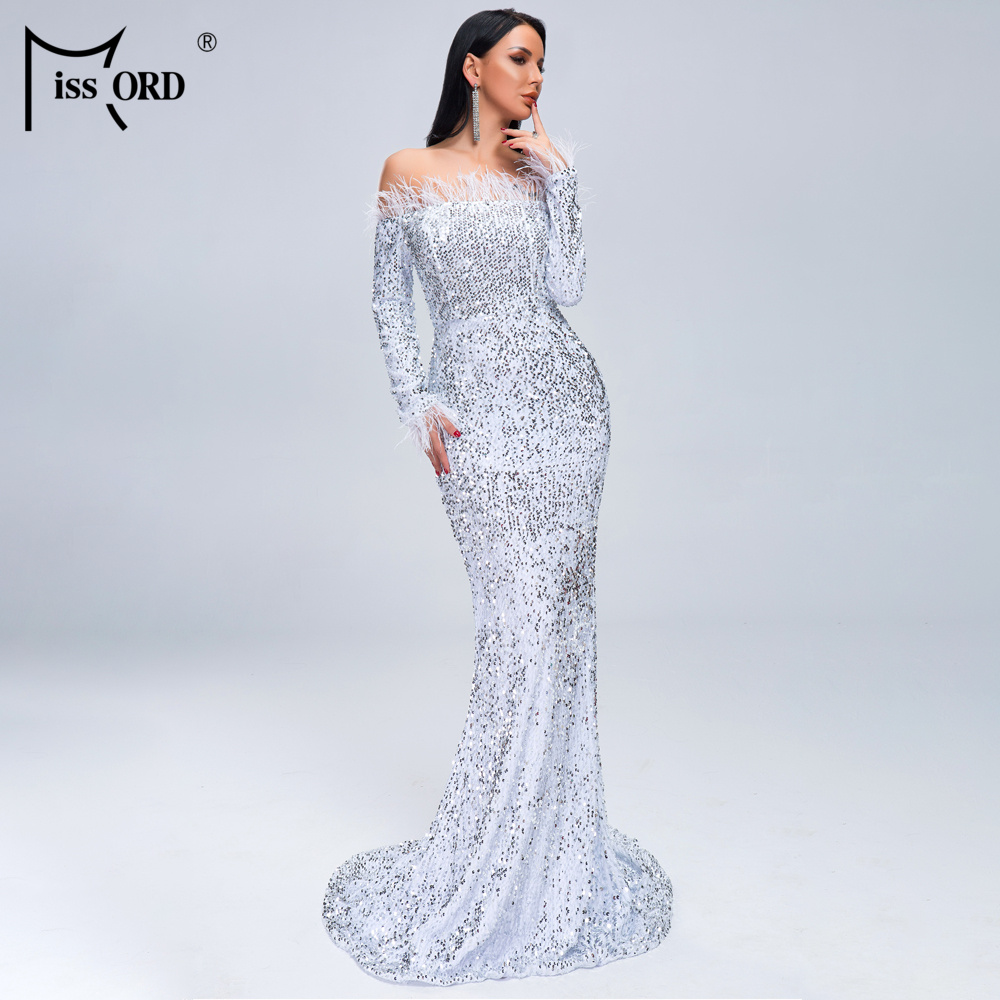 HTB1NqjiXgKG3KVjSZFLq6yMvXXar - Missord Sexy Off Shoulder Feather Long Sleeve Sequin floor length Evening Party Maxi Reflective Dress Vestdios FT19005