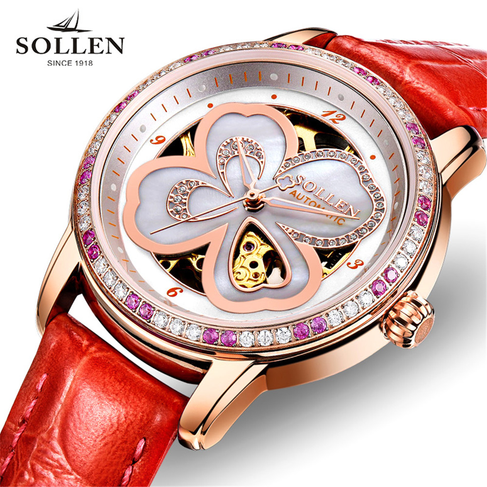 SOLLEN Female Notes Rose Gold Automatic Self-Wind Mechanical Watches Women Genuine Leather Strap Skeleton Watch Fashion Ladies original binger mans automatic mechanical wrist watch date display watch self wind steel with gold wheel watches new luxury