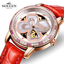 SOLLEN Female Notes Rose Gold Automatic Self-Wind Mechanical Watches Women Genuine Leather Strap Skeleton Watch Fashion Ladies