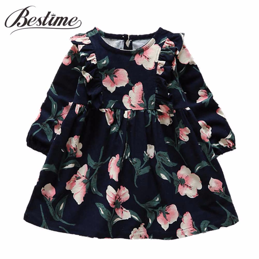 Fashion Girls Clothes Autumn Kids Dresses for Girls Fall Full Sleeve Girl Dress Cotton Kids Floral Printed Cute Children Dress kids dresses for girls cotton brand children clothing for girls fashion flower girl dress cute summer dress kids clothes 2 10 y