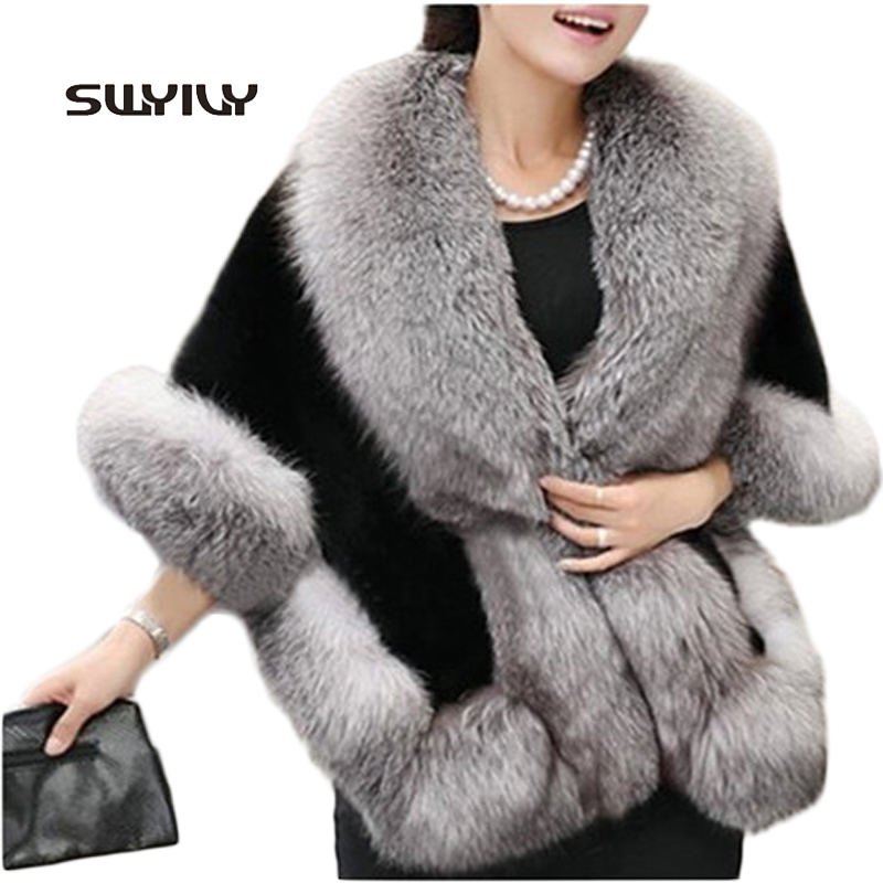 2015 New Spring Women Fur Jacket Bridal Shawl Fashion Cloak Cape Coat - Women's Clothing