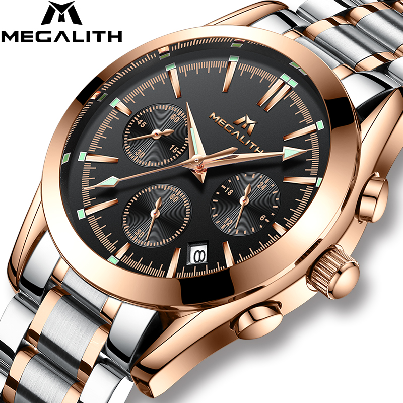 MEGALITH Mens Watches Top Brand Luxury Quartz Clock Stainles