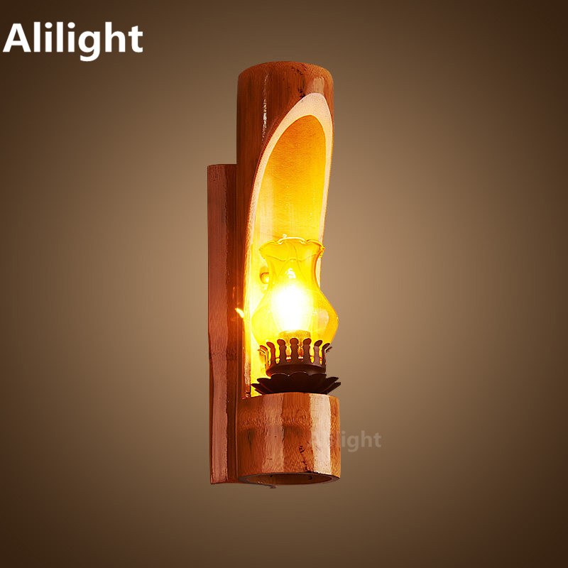 retro indoor outdoor lighting led wall light wood glass e14 candle bulb industrial porch lights