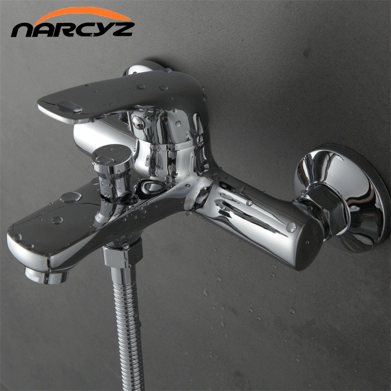 Narcyz High Quality Shower set with Hand Shower Chrome Finish Copper material in the bathroom hot and cold mixer XT321 copper bathroom shelf basket soap dish copper storage holder silver