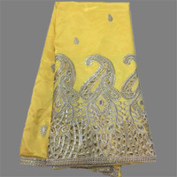 Pretty Party Dress Raw Silk Material Yellow African Embroidery And Sequins George Lace Fabric OG24 1