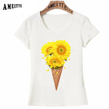 New Fashion Women Short Sleeve Cute Ice cream with sunflowers Tattoo Print T-Shirt Ameitte Funny Casual Tops Cute Girl Tees(China)