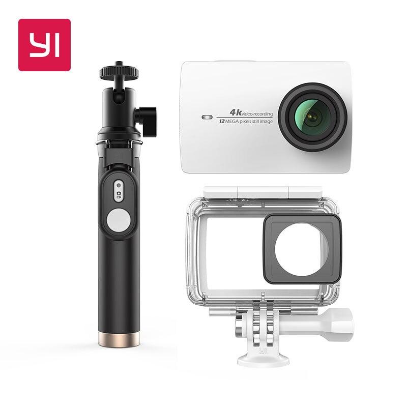 YI 4 k Pacote de Câmera de Ação À Prova D' Água Com caso e Selife Vara 2.19 LCD de Tela Resistente Wifi Versão Internacional câmera de esportes