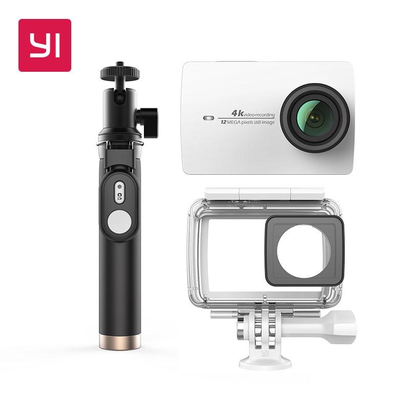 Yi 4 К действие Камера Комплект с Водонепроницаемый чехол и селфи рукоять 2.19 ЖК-дисплей жесткие Экран Wi-Fi International версия спортивные Камера