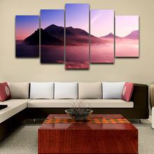Wall Art Home Decor Poster Frame Pictures HD Printed 5 Panel Sea Mountains Dusk Scenery Modern Painting On Canvas Living Room