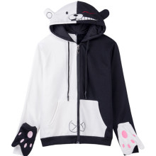 Danganronpa monokuma Women Men Zip Hoodies with hat Cosplay Black/White bear Costume Cartoon Hoodies Outwear Hooded Sweatshirt