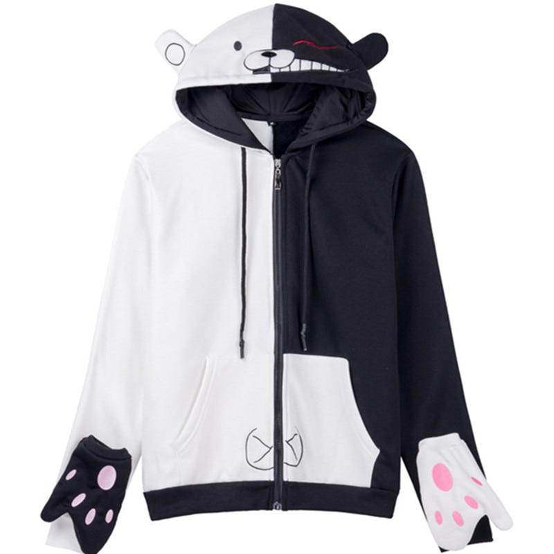 Danganronpa monokuma font b Women b font Men Zip Hoodies with hat Cosplay Black White bear