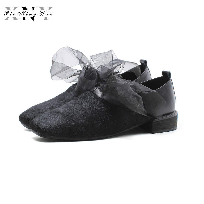 XiuNingYan 2018 Women Flats Oxfords Genuine Leather Loafers Shoes Slip-on Handmade Woman Horsehair Casual Shoes Big Size 33-43 lovexss genuine leather oxford shoes 2017 spring khaki black metal decoration flats loafers women big size 33 42 oxfords