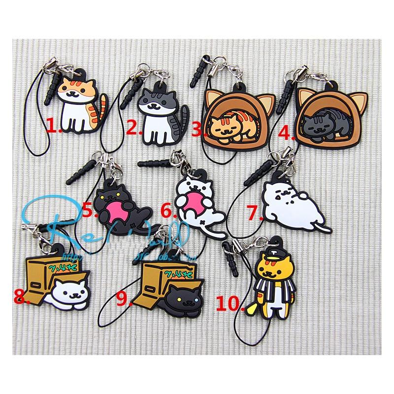 0c162c68587b 1pcs Keychain Anime Comic Animals Nekono Kyuujitsu Neko Atsume Pets Rubber  Keychain Portachiavi keyring keychain Bag