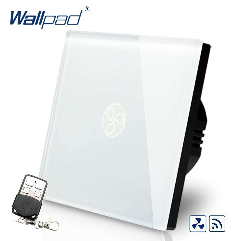 Hot Sales Wallpad EU UK Standard Touch Switch AC 110~250V Wireless Remote Fan Speed Regulator Wall Switch With Remote Controller ewelink eu uk standard 1 gang 1 way touch switch rf433 wall switch wireless remote control light switch for smart home backlight