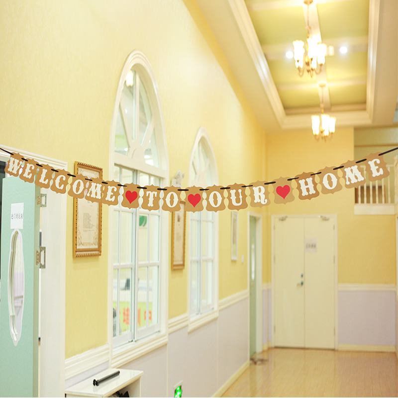 Free Shipping Brown Paper Garland Bunting Banner Welcome To Our Home