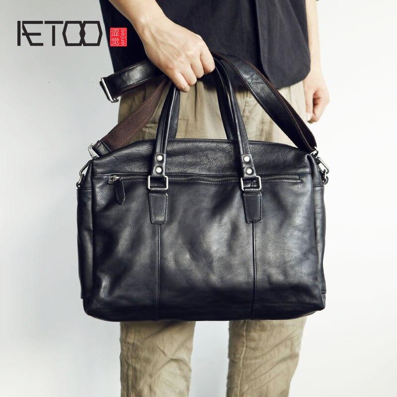 AETOO Mens leather handbag large bag full cowhide briefcase soft oblique shoulder bagAETOO Mens leather handbag large bag full cowhide briefcase soft oblique shoulder bag