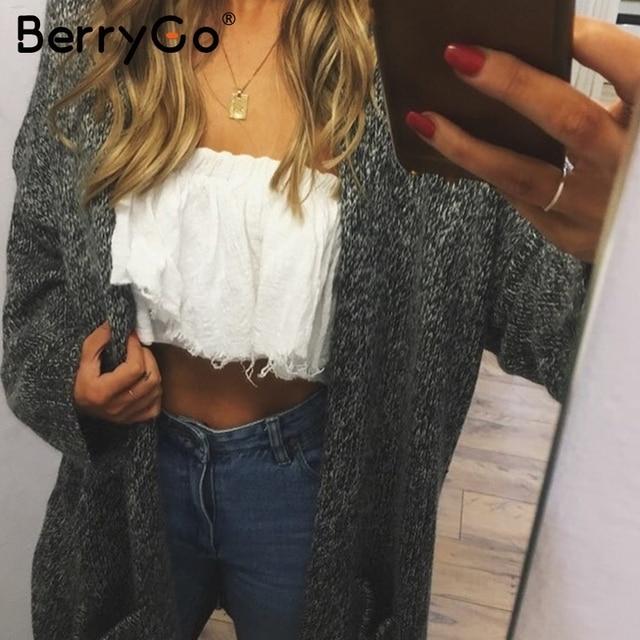 BerryGo Winter knitted sweater long cardigan Women autumn long sleeve pocket cardigan Casual streetwear loose sweater jumper 1