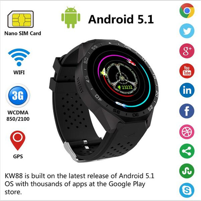2017 HOT Heart Rate KW88 Smart Watch 1.39 Inch MTK6580 Quad Core 1.3GHZ Android 5.1 3G Smart Watch 400mAh 2.0 Mega Pixel Monito