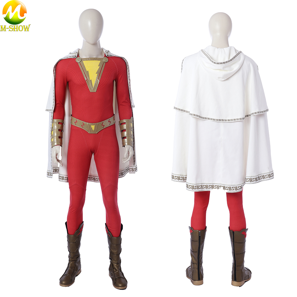 HOT Cakes Captain Marvel Shazam Billy Cosplay Costume Halloween Custom Made Suit