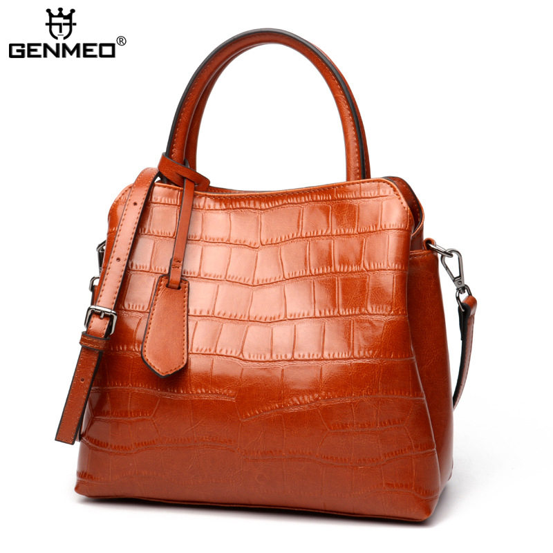 New Arrival Genuine Leather Fashion Bags Women Famous Brand Designer Cow Leather Shoulder Bag Female Stone Grain Messenger Bolsa new genuine leather women bag messenger bags casual shoulder bags famous brand fashion designer handbag bucket women totes 2017