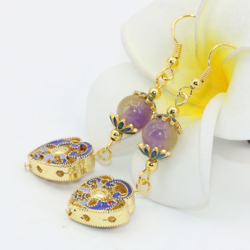 Charms gold-color heart cloisonne exquisite carved colorful stone dangle earrings for weddings party long earrings gifts B2617