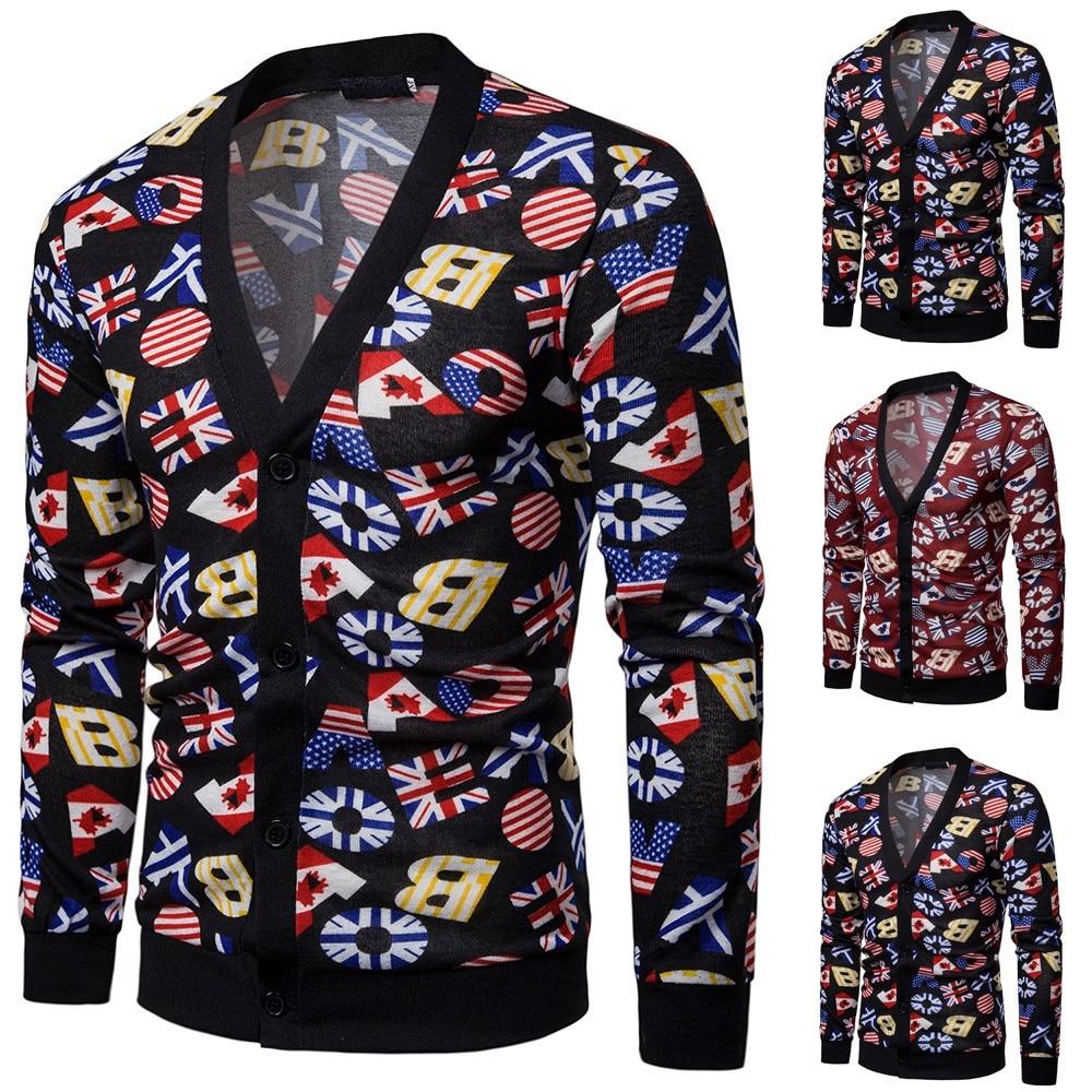 2019 Men's Sweater Coat Mens Casual Autumn Printed Long Sleeve Knit Sweaters Top Blouse Cardigan кофта женская свитер женский