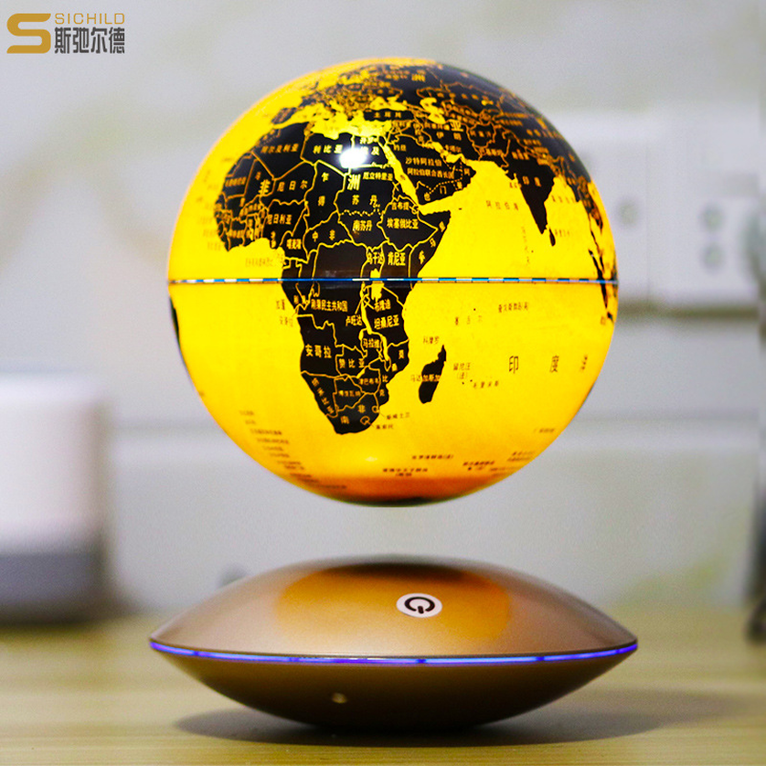Self redirecting Anti Gravity Maglev Globe Rotation World Map With LED Light Small Craft Ornaments Home Decoration Miniatures in Figurines Miniatures from Home Garden