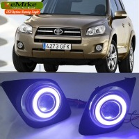 eeMrke COB Angel Eyes DRL For Toyota RAV4 2009 2012 Fog Lights H11 55W Halogen Bulbs Daytime Running Lights Kits