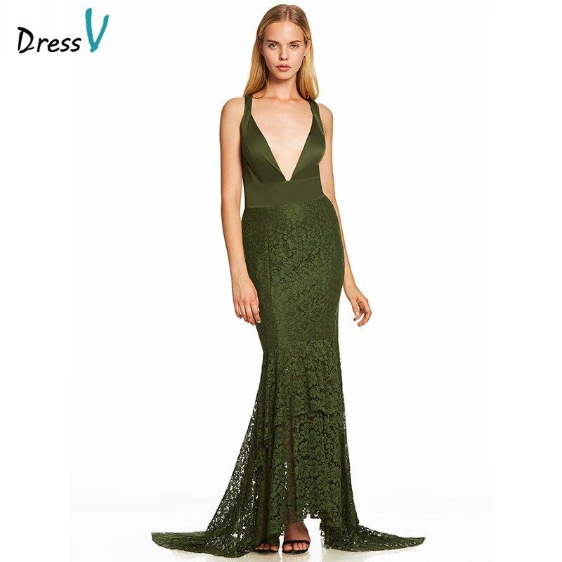 Long Evening Gowns For Wedding: Dressv Dark Green Trumpet Long Evening Dress Cheap V Neck
