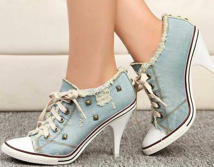 Spring Fashion Women Lace Up Denim Pumps Casual Style Studded High Heels Ladies Sexy Dress Shoes Female Unique Shoes