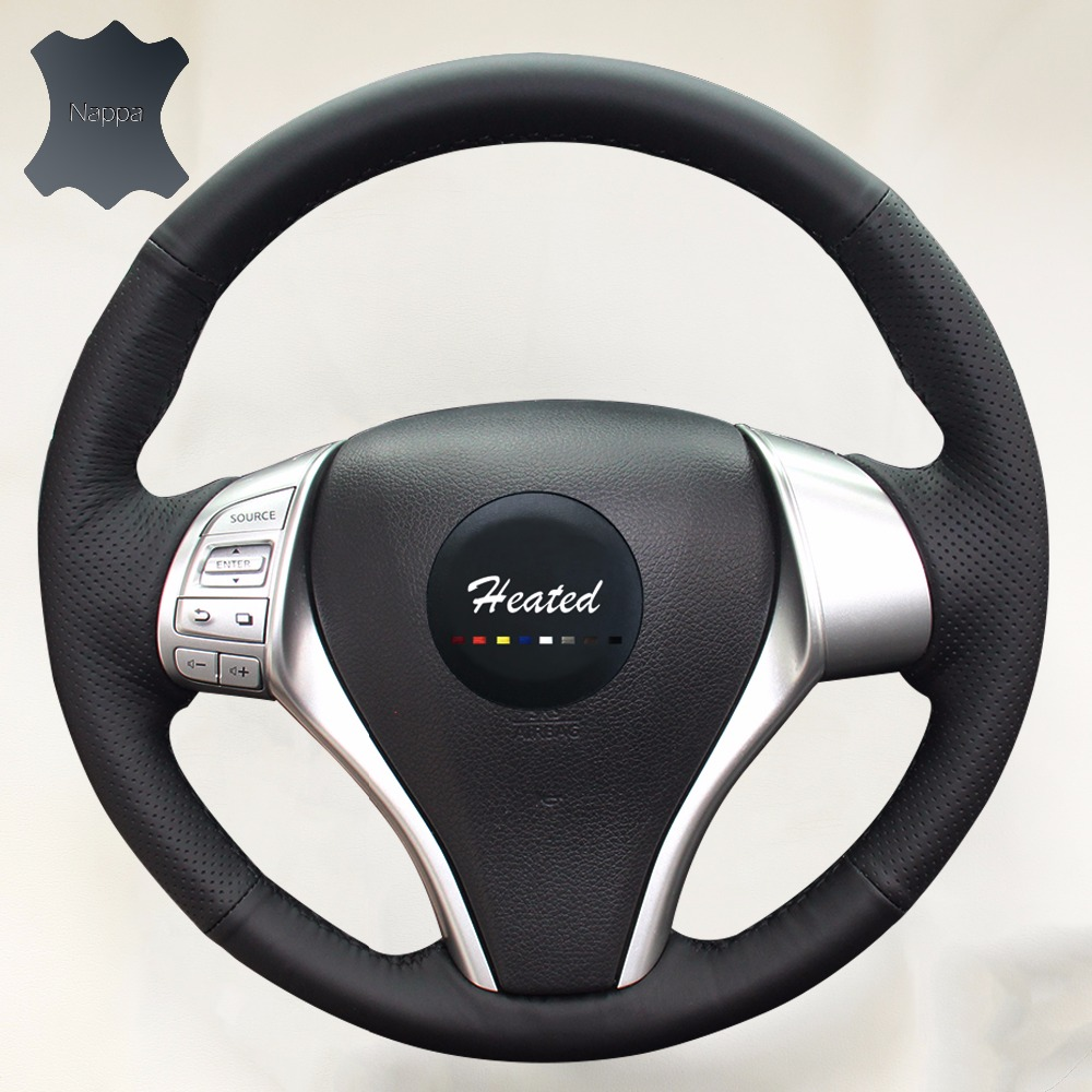 Genuine Leather Steering Wheel Cover for Nissan Teana Altima 2013-2016 X-Trail QASHQAI Rogue Sentra Tiida braid on the steering artificial leather car steering wheel braid for nissan teana altima 2013 2016 x trail qashqai rogue custom made steering cover