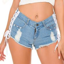 Fashion Lace Up Side Split Shorts Women's Summer Blue Denim Patchwork Low Waist Ripped Shorts Streetwear Casual Shorts A190