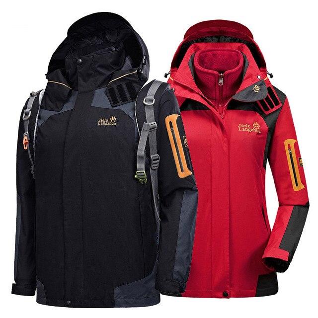 2018 Brand Waterproof Jacket Outdoor Two Piece Set Winter Thicken Sports  Snowboard Climbing Trekking Jackets For Men and Women 97fe699a9