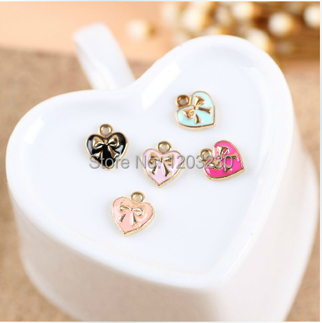 New design fashion 9*10mm mix colour 50pcs/lot alloy drap oil charm metal Bows with love pendants