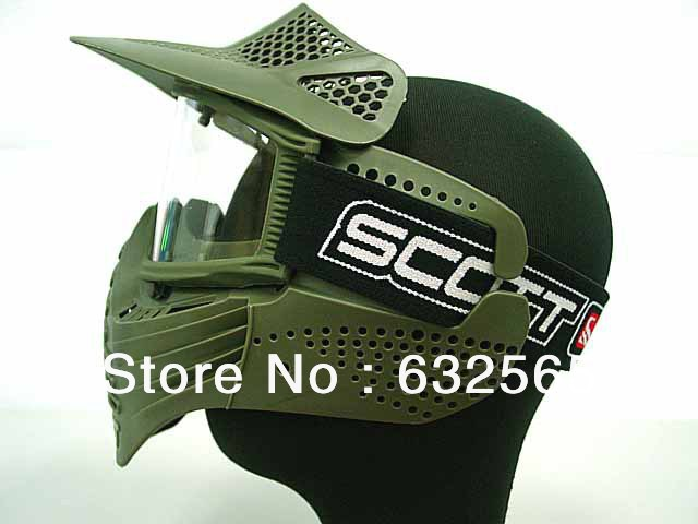 Tactical Paintball Airsoft War Game Full Face Protective Safety Mask with Goggle
