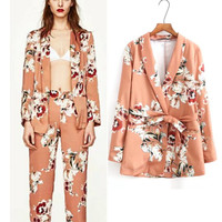 Women Spring Summer 2018 New Tide Europe America Wind Jacket Pant Suits