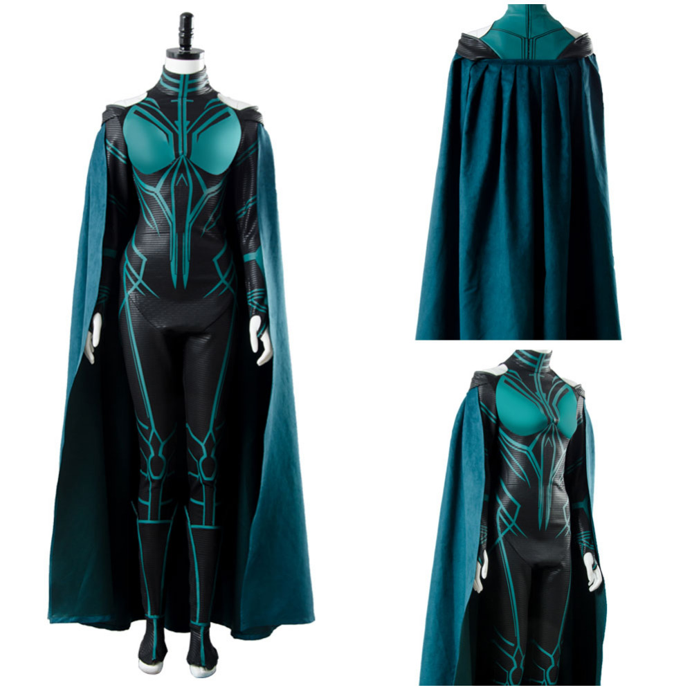 The Avengers Thor 3 Ragnarok Hela Cosplay Costume Jumpsuit + Cape + Shoe Covers