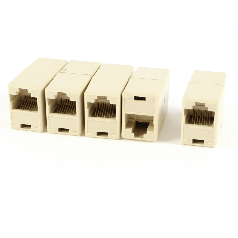 5 PCS RJ11 to RJ11 Female/Female Telephone Cable Coupler Connector Yellow vention 4 pin rj 11 6p4c telephone straight coupler cable extender 10pcs