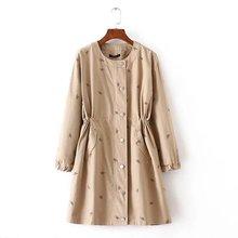 3XL european women long slim  trench coat 2016autumn lady oversized  treach outwear coats plus size elastic waist coats outwear