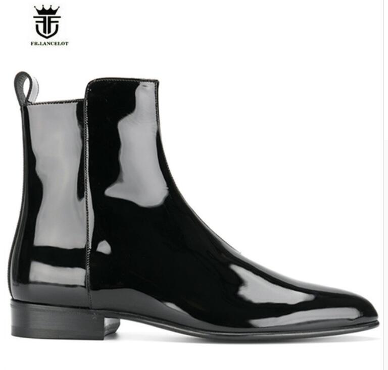 FR. LANCELOT 2018 hommes en cuir verni bottes marque desigh hommes mode bottes zip up mujer bota bout pointu chelsea chaussons