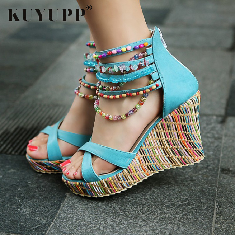 Fashion String Bead Platform Women Sandals Bohemia Beach Wedges Ladies Sandals Shoes Plus Size 10.5 High Heel Sandals KLP00160 plus size leisure beach espadrille wedge heel sandals