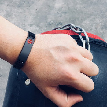 Engraved Mens Medical Alert ID Bracelet Black Stainless Steel  1