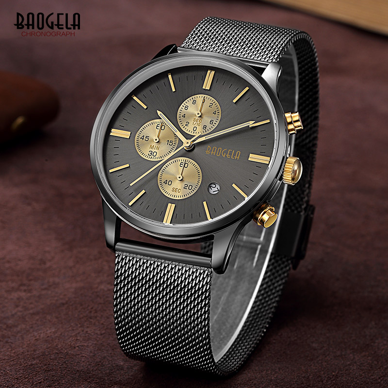 Baogelaบุรุษโครโนกราฟสีดำสแตนเลสตาข่ายสายทหารกีฬาควอตซ์นาฬิกาข้อมือด้วยมือส่องสว่าง1611กรัม