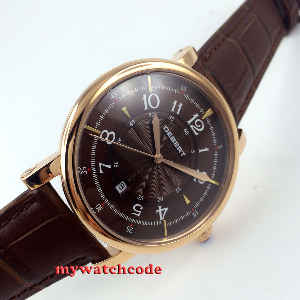 43mm debert coffee dial rose golden case 21 jewels miyota Automatic mens Watch 8 36mm debert golden dial 21 jewels miyota automatic diamond mens watch d11