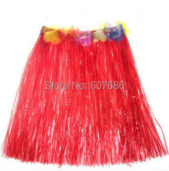 Wholesale 30 Pieces 40cm Hawaii Grass Skirt for Children Kids Party Show Fancy Dress Costume 7 Color Hula Skirts Free Shipping